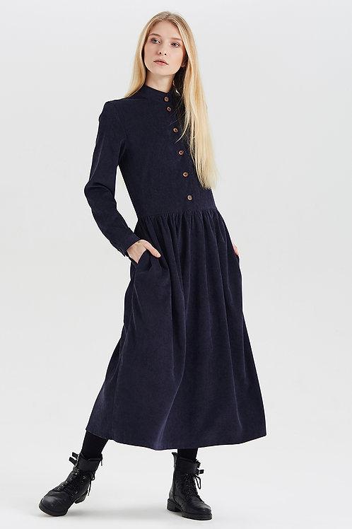 Арт.15030 Платье из вельвета с пуговицами, синий