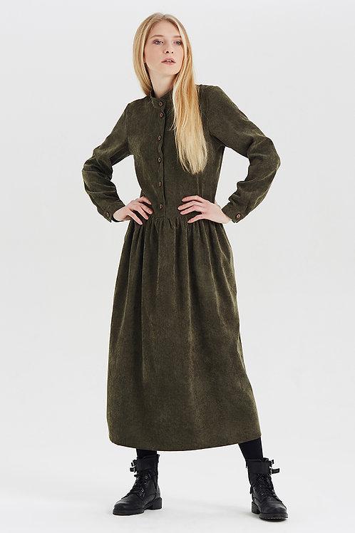 Арт.15032 Платье из вельвета с пуговицами, хаки