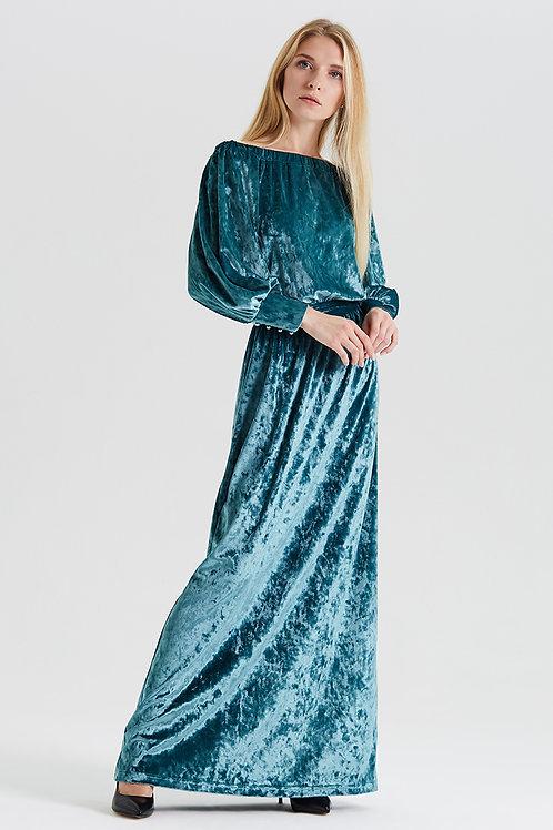 Арт.14987 Платье декольте бархат с манжетом длинное new, ментоловый