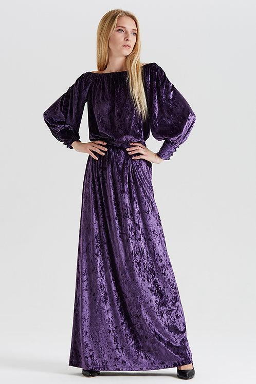 Арт.14989 Платье декольте бархат с манжетом длинное new, баклажан