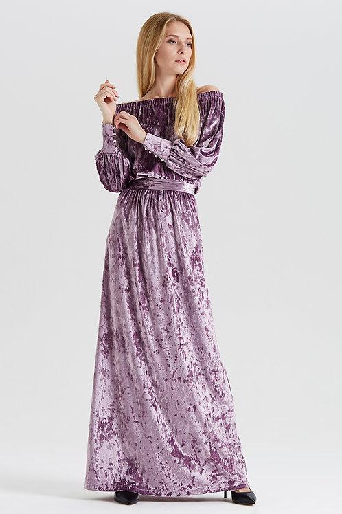 Арт.14990 Платье декольте бархат с манжетом длинное new, сиреневый