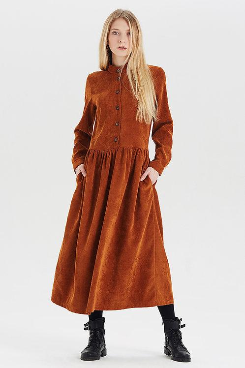 Арт.15031 Платье из вельвета с пуговицами, кэмел