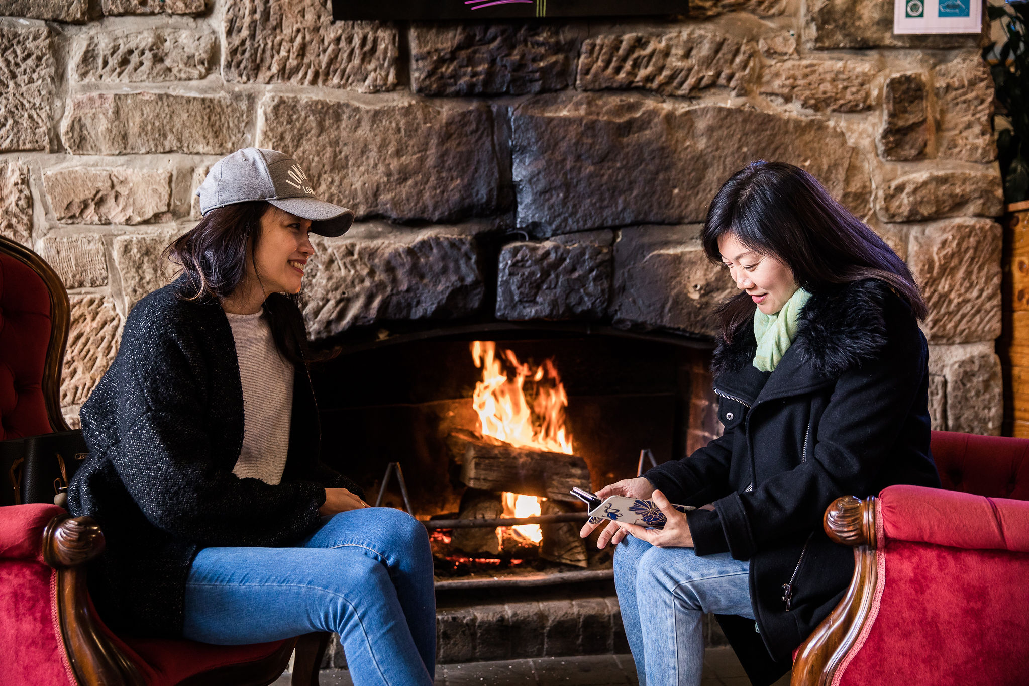 Friends by the fire
