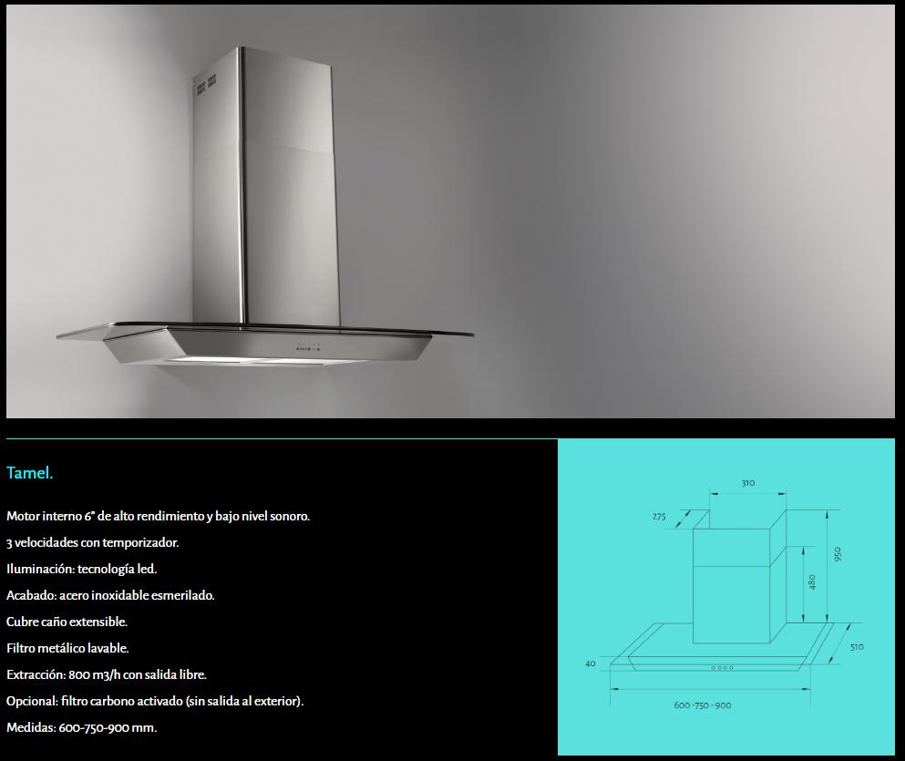 Tamel campana TST cristal recto luz led sacar humos de cocina industrial con filtros