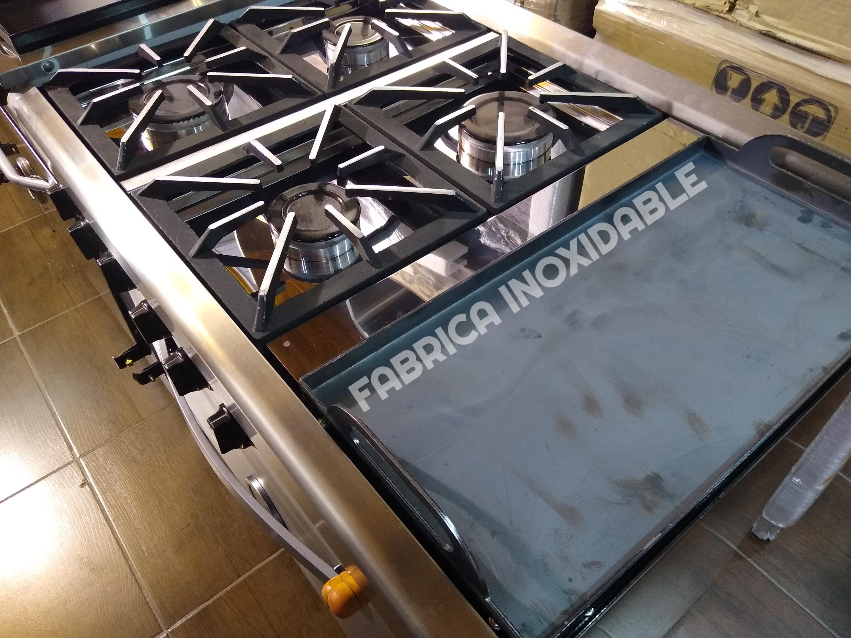 Cocina industrial 90 centimetros 4 hornallas + plancha bifera + pinza carlitera