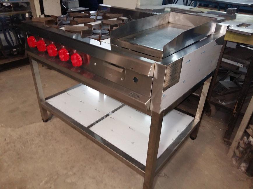 Anafe para restaurante acero inoxidable con patas y estante inferior plancha churrasquera lisa rectifcda gruesa porta grasa