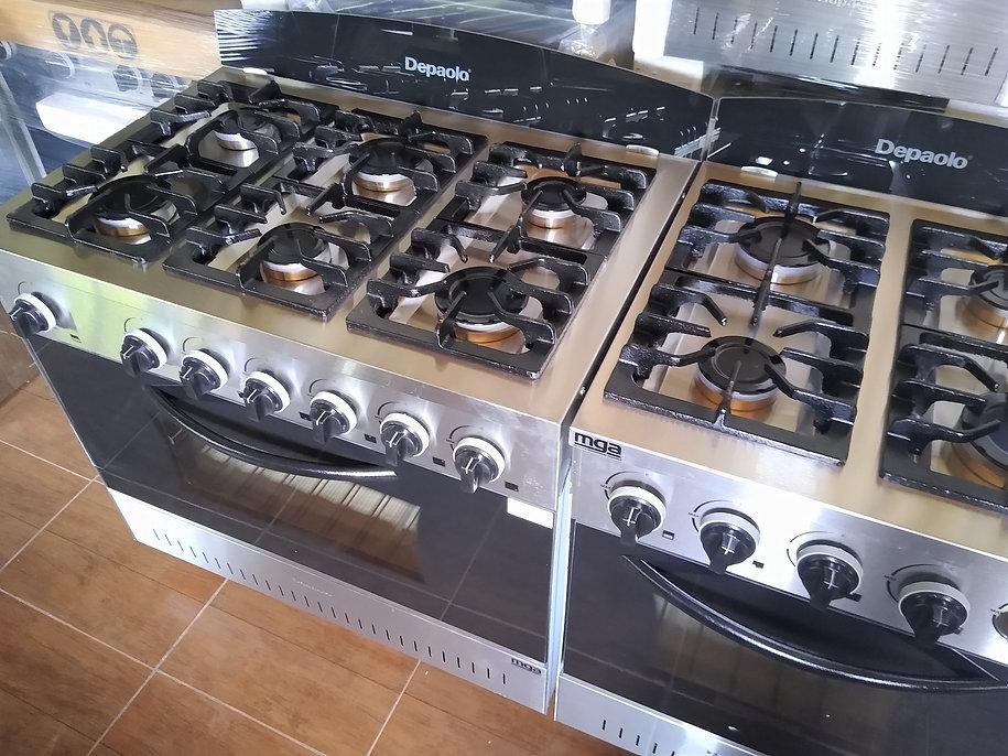 Cocina industrial depaolo 90cm puerta visor con horno pizzero de 6 moldes