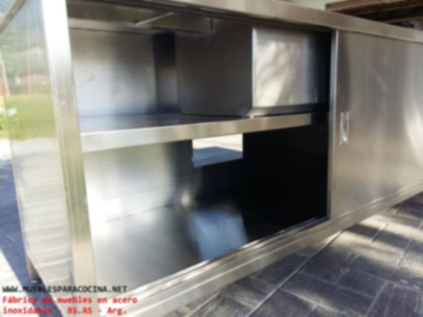 Mueble cerrado bajo mesada con puertas de acero inoxidable quirurgico fábrica bachas familires