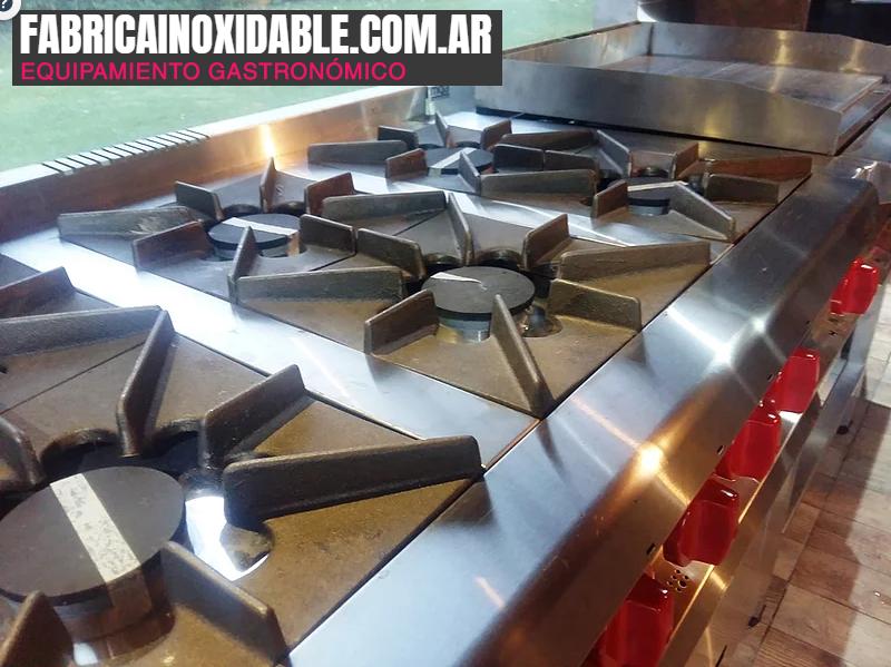 Cocina industrial gastronómica MGA 6 hornallas pesada con horno piedras pizzero acero inoxidable