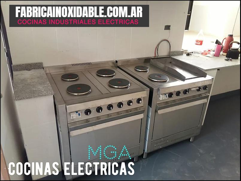 Cocinas industriales eléctricas 4 discos 75 centímetros versiones con plancha y baño maría