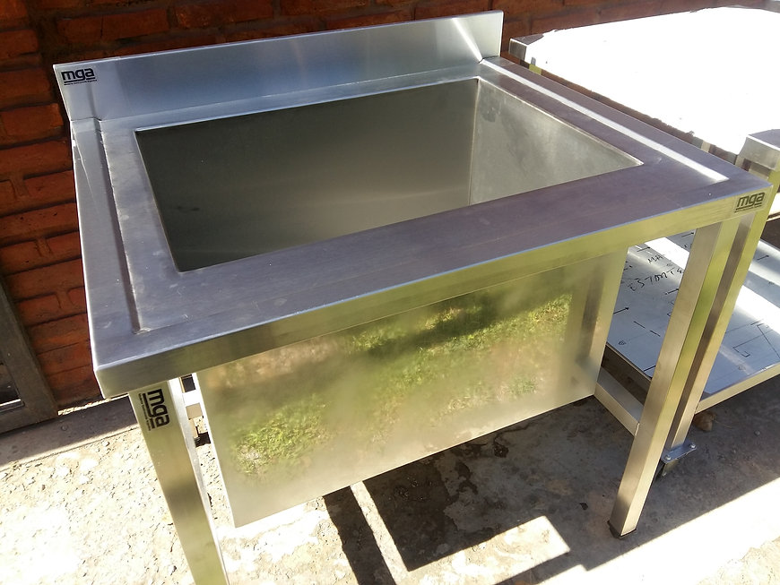 Bacha pileton industrial acero inoxidable quirúrgico fábrica de bachas a medida 800x750x850mm