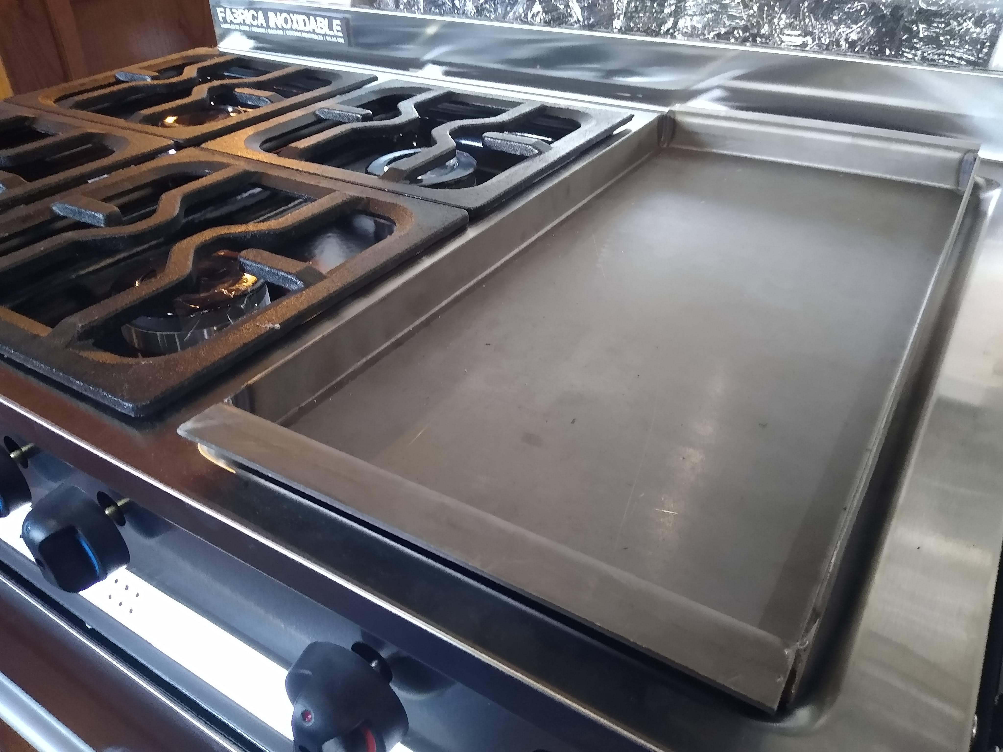 Plancha anafe lisa acero inoxidable cocina industrial familiar