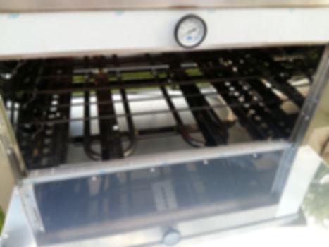 Flauta horno pizzero de 12 moldes profesional con pirómetro en la puerta 300 grados ideal gastronomía