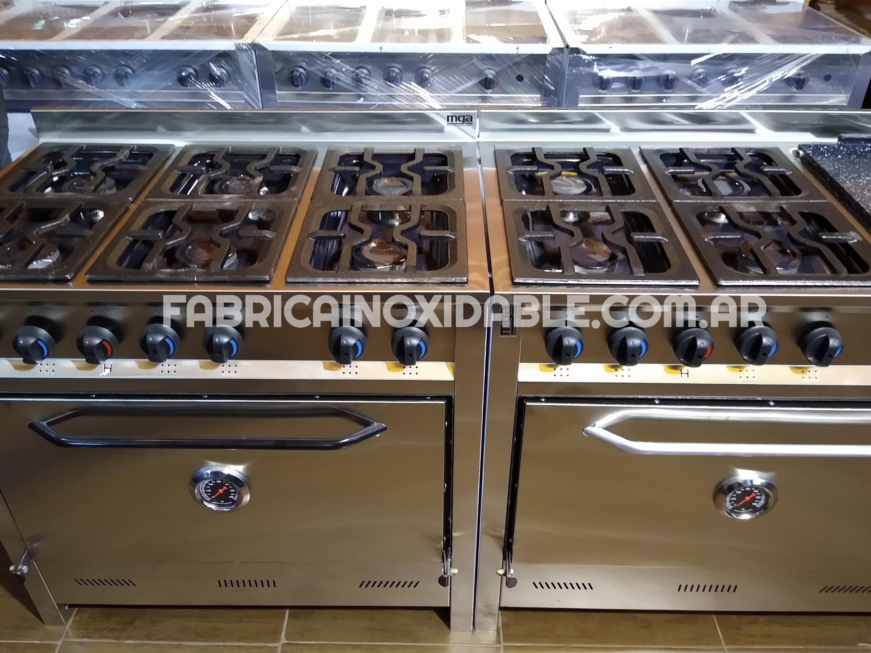 Fábrica de cocinas industriales 6 hornallas comercial o familiar acero inoxidable horno pizzero 6 bandejas