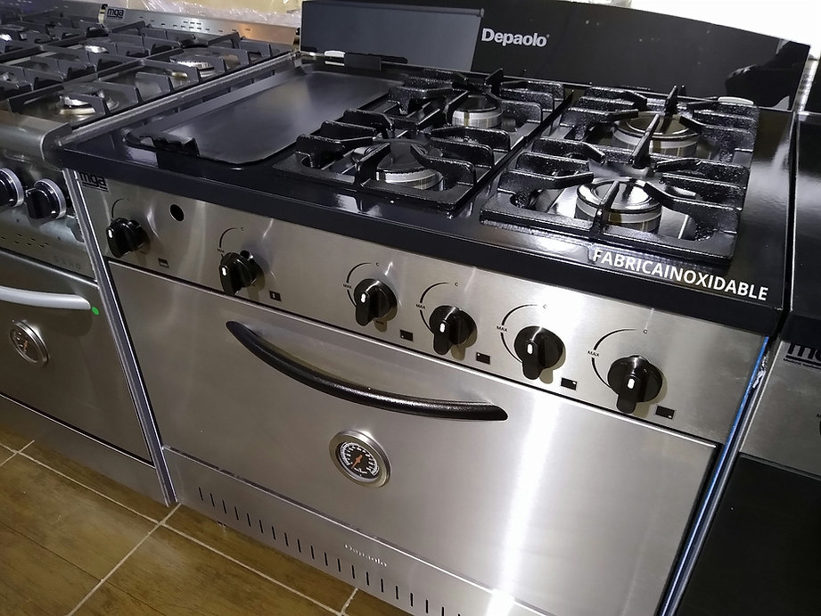 Cocina industrial Depaolo 4 hornallas + plancha bifera doble acero inoxidable horno pizzero 6 moldes