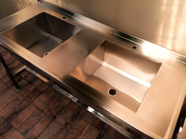 Fábrica de muebles de acero inoxidable bacha doble AISI 304 laboratorio