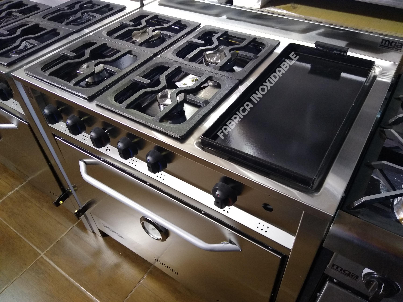 Cocinas industriales 90 centimetros 4 hornallas y plancha bifera hierro enlozada
