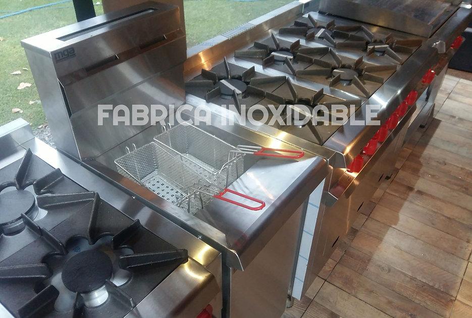 Equipo Inoxidable cocinas industriales pesados anafes, hervidores de pasta, anafes, freidores