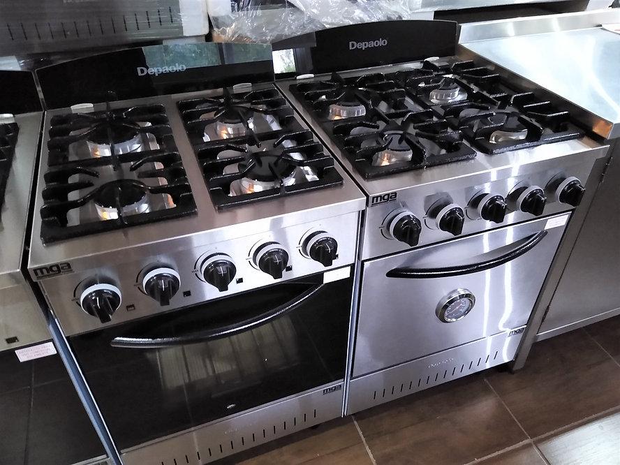 Cocina industrial Depaolo mini puerta acero inoxidable o vidrio con horno pizzero ideal familiar moderna