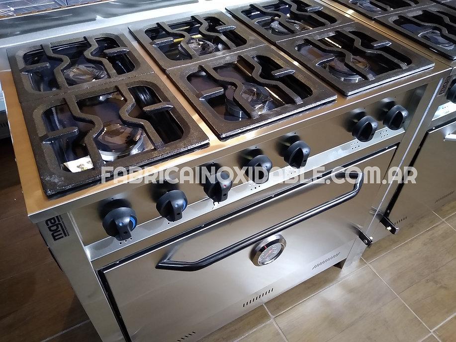 Cocina industrial de 6 hornallas linea profesional hornallas de fundicion horno pizzero full inoxidable