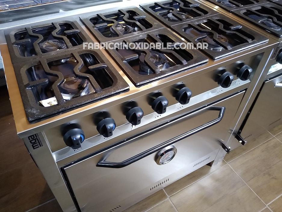 Fábrica de cocinas industriales 6 hornallas fundicion hierro acero inoxidable horno pizzero