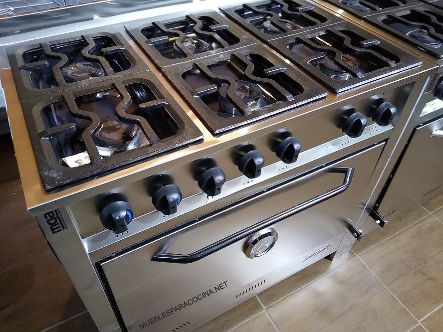 Fábrica de cocinas industriales 6 hornallas acero inoxidable MUEBLESPARACOCINA.NET