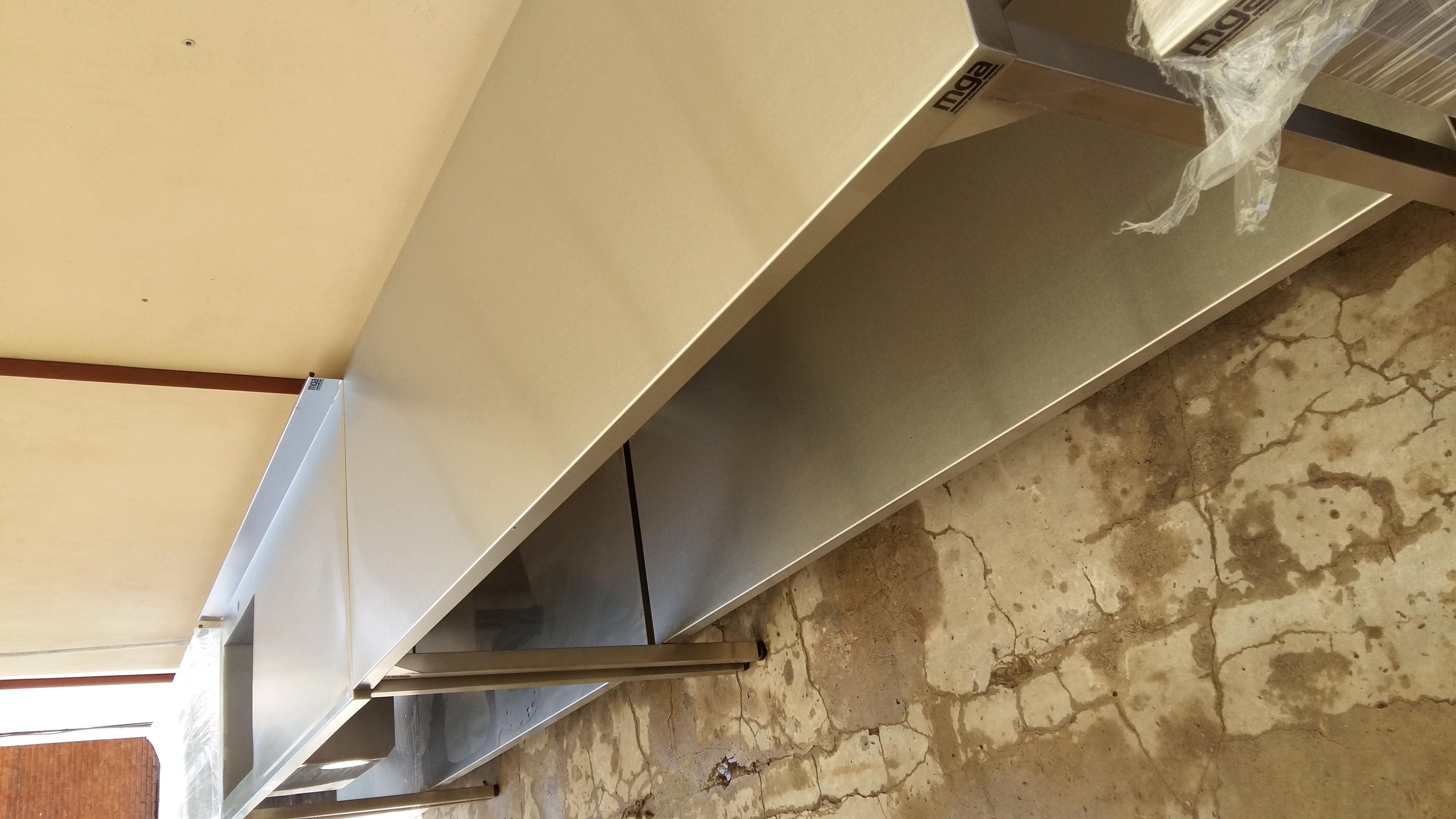 Mesada lisa acero inoxidable para cocina industrial