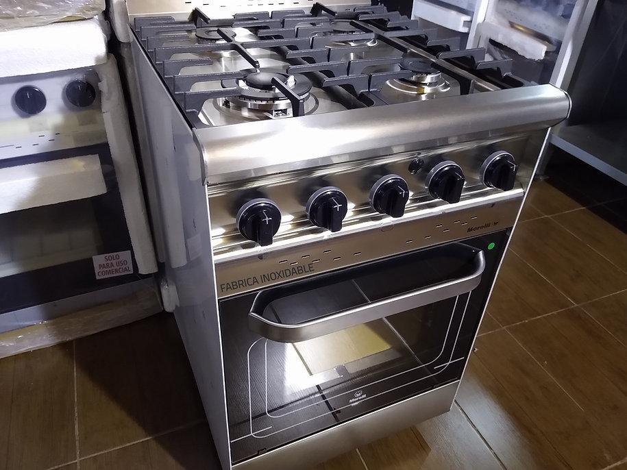 Cocina industrial Morelli Forza 550 600 Hornallas vitrificadas horno pizzero encendido
