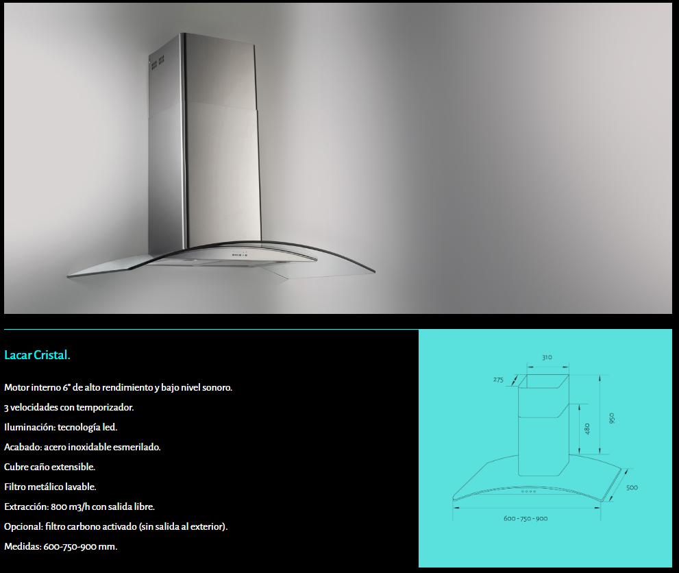 Campana TST Lacar cristal curvo de pared showroom Ituzaingó www.fabricainoxidable.com.ar