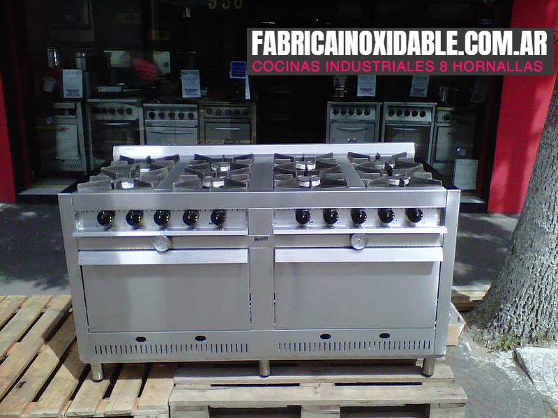 Cocinas industriales 8 hornallas con dos hornos pizzeros acero inoxidable www.fabricainoxidable.com.ar