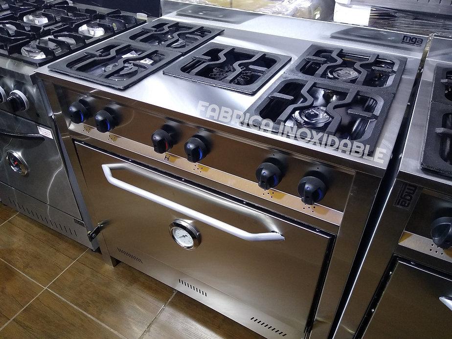 Cocina industrial 5 hornallas con estrella horno pizzero de 6 moldes