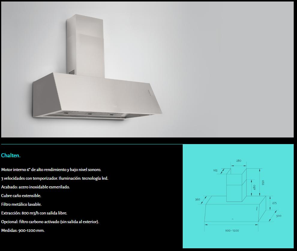 Chalten campana de pared tipo industrial 120 centimetros para cocina gastronómica con filtros