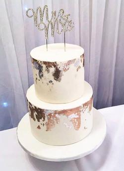 White foil cake