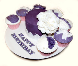 Purple with cupcakes
