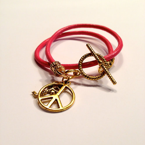 Hot Pink Double Wrap Teen Toggle with Charms