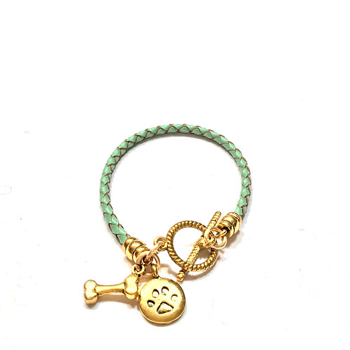 Green Braided with Gold Toggle & Charms