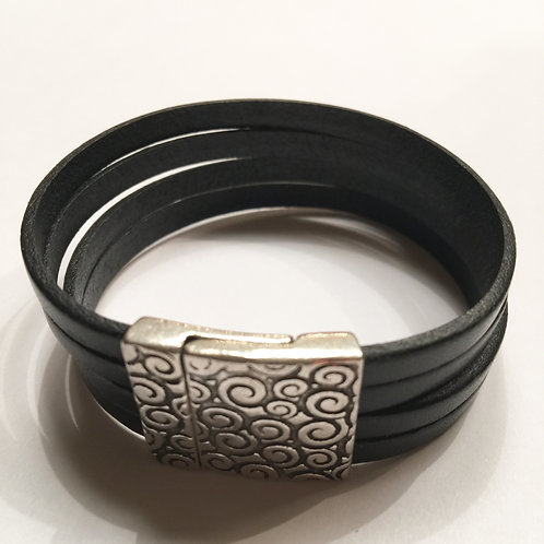 Black with 20mm Silver Swirl Clasp