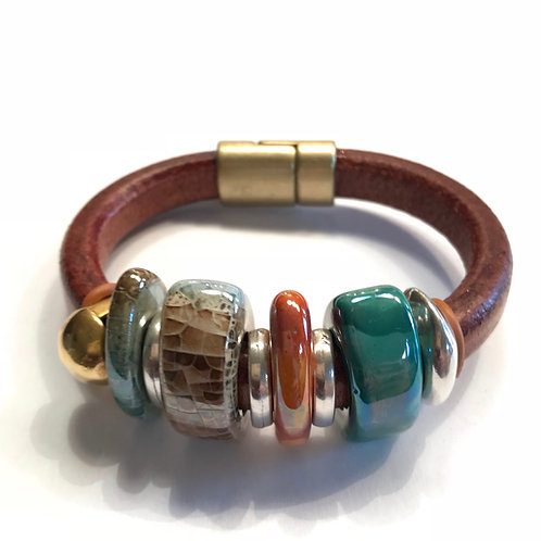 Hazelnut Regaliz with Greek Ceramic Beads and Gold and Silver Spacers