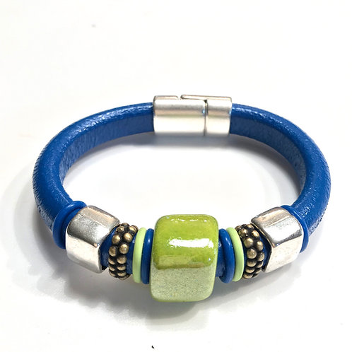 Cobalt Blue Regaliz with Pistachio Ceramic Bead