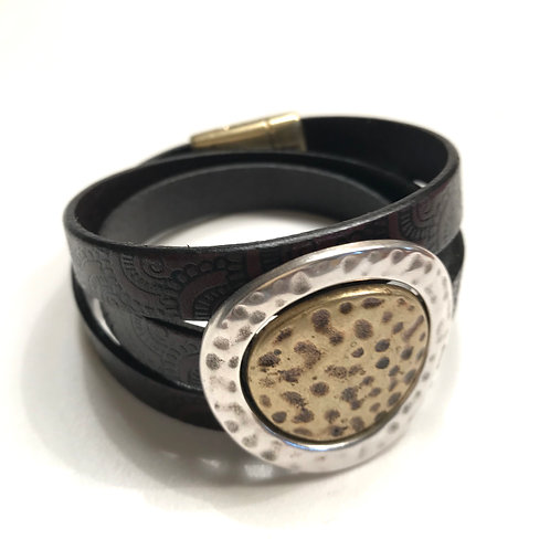 Black-Brown 10mm engraved Triple Wrap with Gold Center