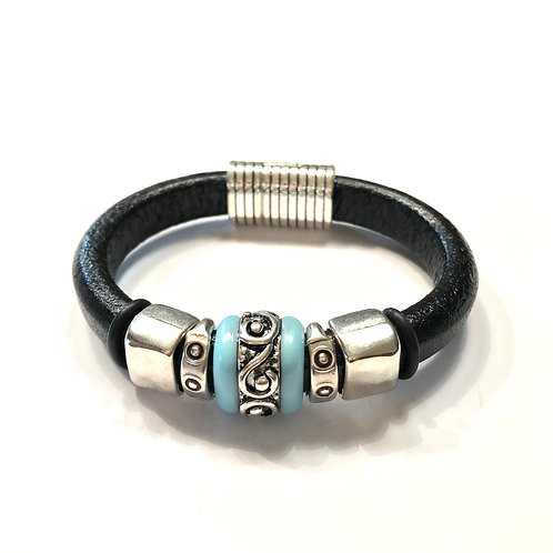 Black Regaliz with Silver Inlay Ceramic Bead