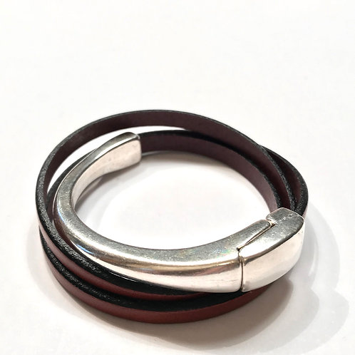 Mahogany Triple Wrap with Silver Magnetic Bar