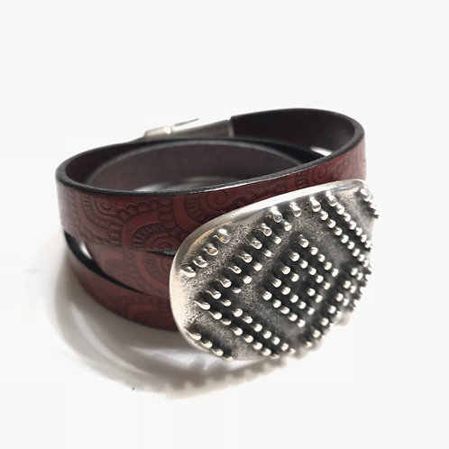 10mm Mahogany Triple Wrap with Buckle