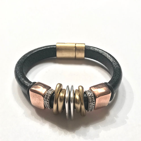 Black Regaliz with Gold, Silver and Rose Gold Spacers