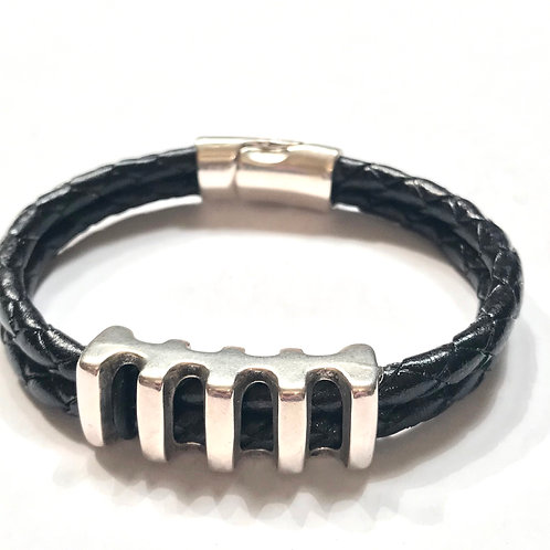 5mm Double Braided Black with Silver Railroad Spacer