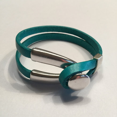 Turquoise with Silver Wishbone