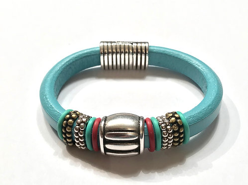 Turquoise Regaliz with Silver Pumpkin Center