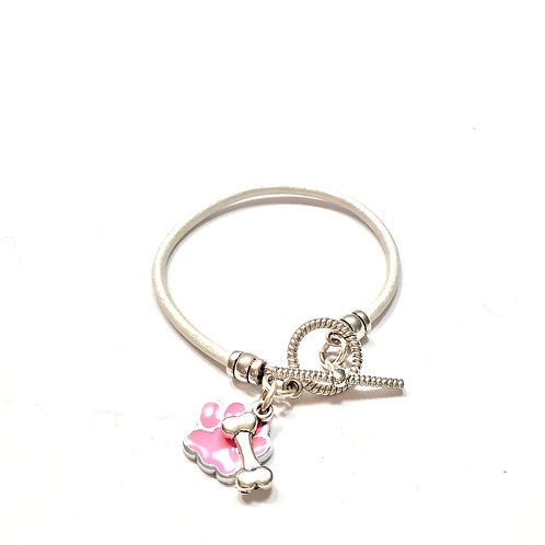 White with Silver and Pink Charms