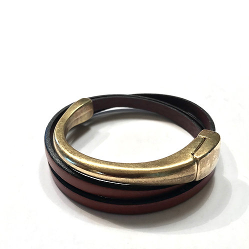 Mahogany Triple Wrap with Gold Bar Spacer