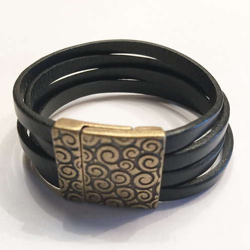 Black with 20mm Gold Swirl Clasp